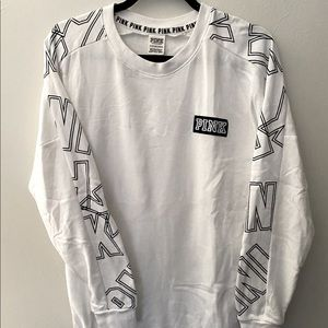 Pink brand white longer jumper size XS. Good condition
